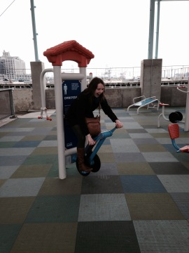 There are so many fun fitness machines at Brooklyn Bridge Park's Pier 2