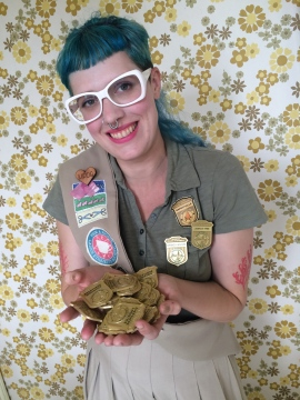 Tess and all the custom made Junior Ranger Badges